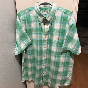 Orvis short sleeve button down shirt Sz large